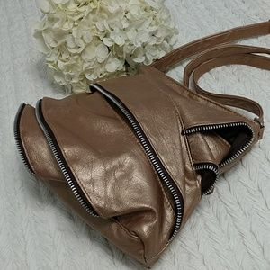 Handbags - Unique Zippers Ruffled Crossbody Bag Bronze Boho